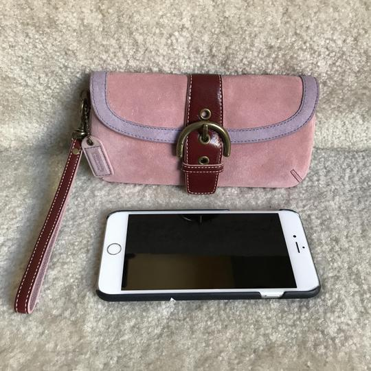 Coach Suede Buckle Signature Purple Red Wristlet in Pink Image 6