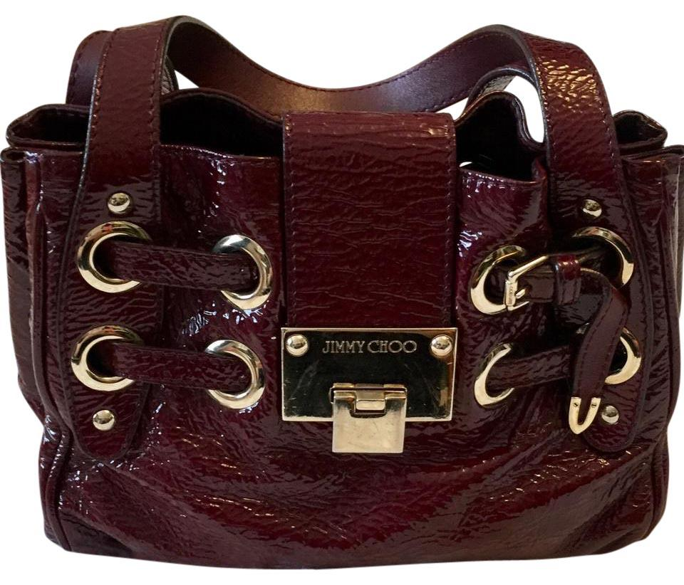 2b561a788fb Jimmy Choo Ramona Maroon Patent Leather Satchel - Tradesy