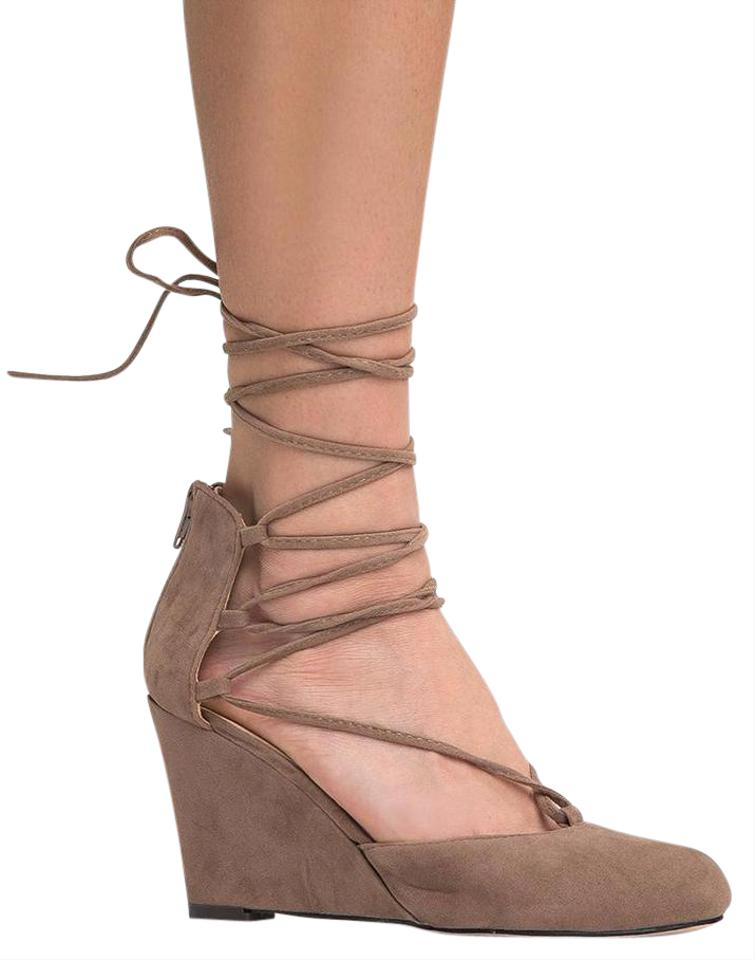 cb1c93a842c1b8 J. Adams Taupe Muffin Lace Up Low Wedge Heel Sandals Size US 11 Regular (