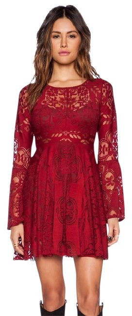 Item - Cranberry Red Folk Lovers Lace Short Formal Dress Size 4 (S)