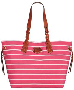 Dooney & Bourke Tote in stripe pink and white