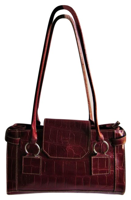 Item - Paris Croc Embossed Wine Red Leather Satchel
