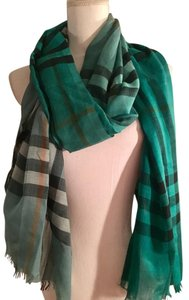 Burberry Burberry Unisex Giant Green Check Linen Scarf