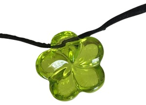 Baccarat Baccarat Green Crystal Clover Pendant with Black Velvet Necklace