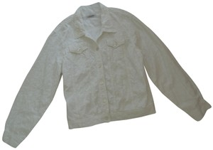 New Identity Pearlized white 100% cotton eyelet material Jacket