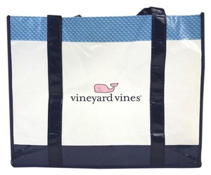 Vineyard Vines Reusable Nautical Travel Shopping Tote in Blue and White