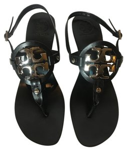Tory Burch Black with silver hardware Sandals