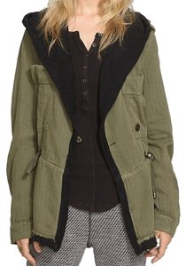 Free People Fleece Interior Coat Shawl Collar Coat Black Trim Coat Drawstring Coat Snap Cuffs Coat Green Jacket