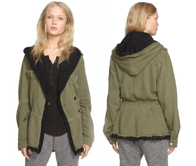 Free People Fleece Interior Coat Shawl Collar Coat Black Trim Coat Drawstring Coat Snap Cuffs Coat Green Jacket Image 10