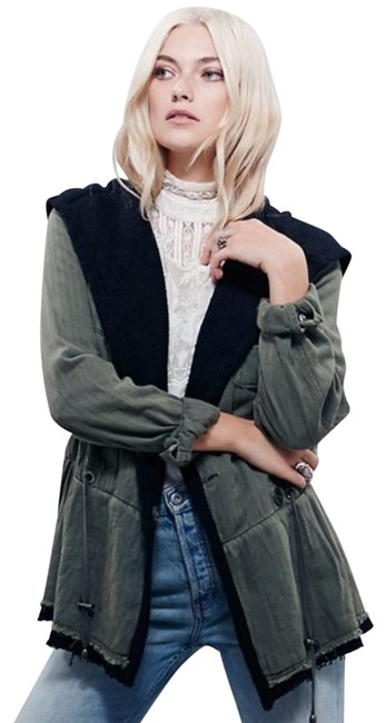 Free People Fleece Interior Coat Shawl Collar Coat Black Trim Coat Drawstring Coat Snap Cuffs Coat Green Jacket Image 2