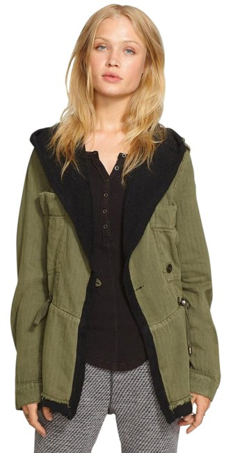 Free People Fleece Interior Coat Shawl Collar Coat Black Trim Coat Drawstring Coat Snap Cuffs Coat Green Jacket Image 3
