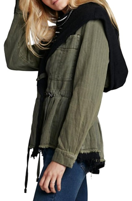 Free People Fleece Interior Coat Shawl Collar Coat Black Trim Coat Drawstring Coat Snap Cuffs Coat Green Jacket Image 4