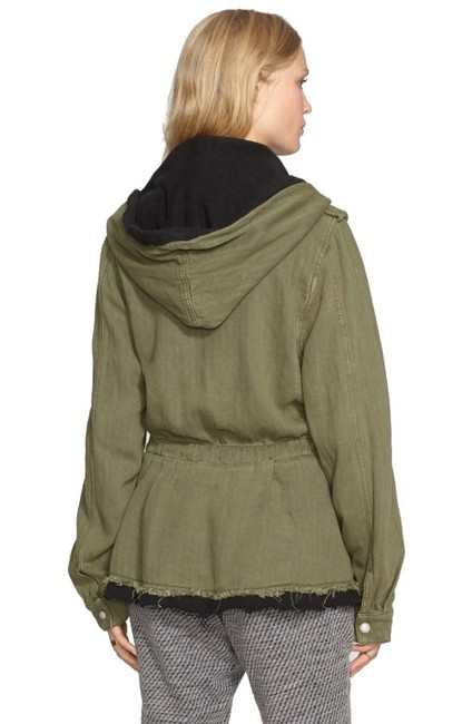 Free People Fleece Interior Coat Shawl Collar Coat Black Trim Coat Drawstring Coat Snap Cuffs Coat Green Jacket Image 5