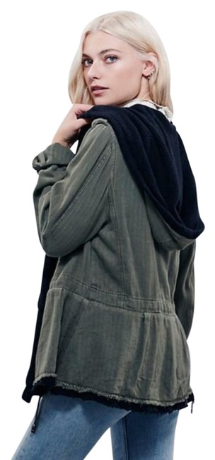 Free People Fleece Interior Coat Shawl Collar Coat Black Trim Coat Drawstring Coat Snap Cuffs Coat Green Jacket Image 6