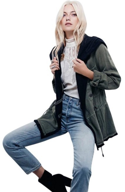 Free People Fleece Interior Coat Shawl Collar Coat Black Trim Coat Drawstring Coat Snap Cuffs Coat Green Jacket Image 7