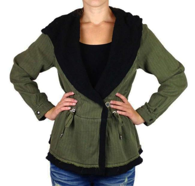 Free People Fleece Interior Coat Shawl Collar Coat Black Trim Coat Drawstring Coat Snap Cuffs Coat Green Jacket Image 9