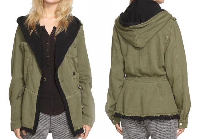 Free People Fleece Interior Coat Shawl Collar Coat Black Trim Coat Drawstring Coat Snap Cuffs Coat Green Jacket Image 1