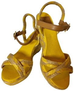 Tory Burch Camelia Espadrilles Sandal Mustard/Natural/Royal tan Wedges