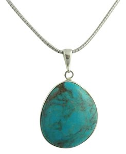 Other Large Pear Shape Turquoise Pendant- Sterling Silver
