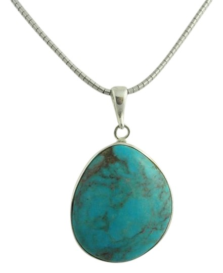 Preload https://img-static.tradesy.com/item/21832679/turquoise-large-pear-shape-pendant-sterling-silver-necklace-0-4-540-540.jpg
