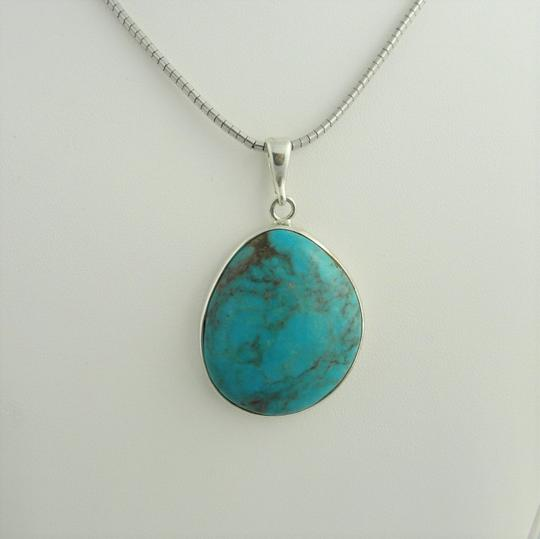 Other Large Pear Shape Turquoise Pendant- Sterling Silver Image 2