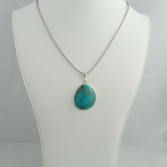 Other Large Pear Shape Turquoise Pendant- Sterling Silver Image 3