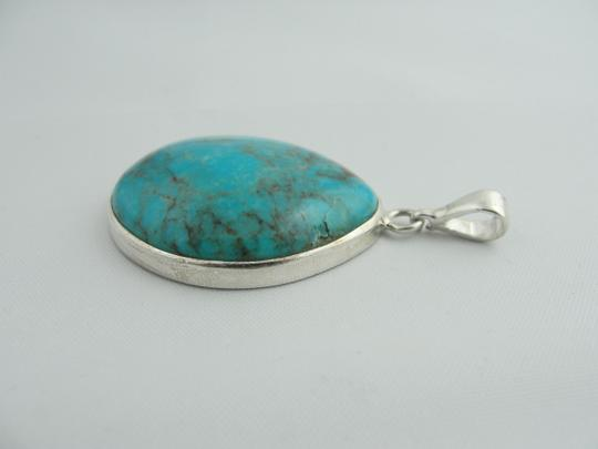 Other Large Pear Shape Turquoise Pendant- Sterling Silver Image 7