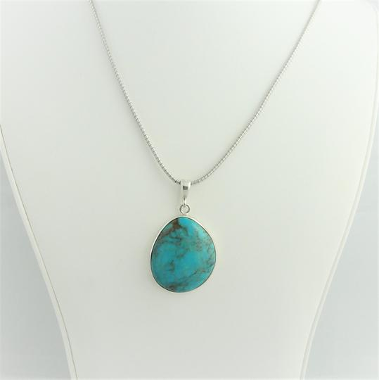 Other Large Pear Shape Turquoise Pendant- Sterling Silver Image 9