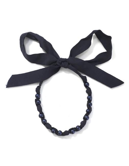 Item - Navy Beaded Ribbon with Dust Bag Necklace