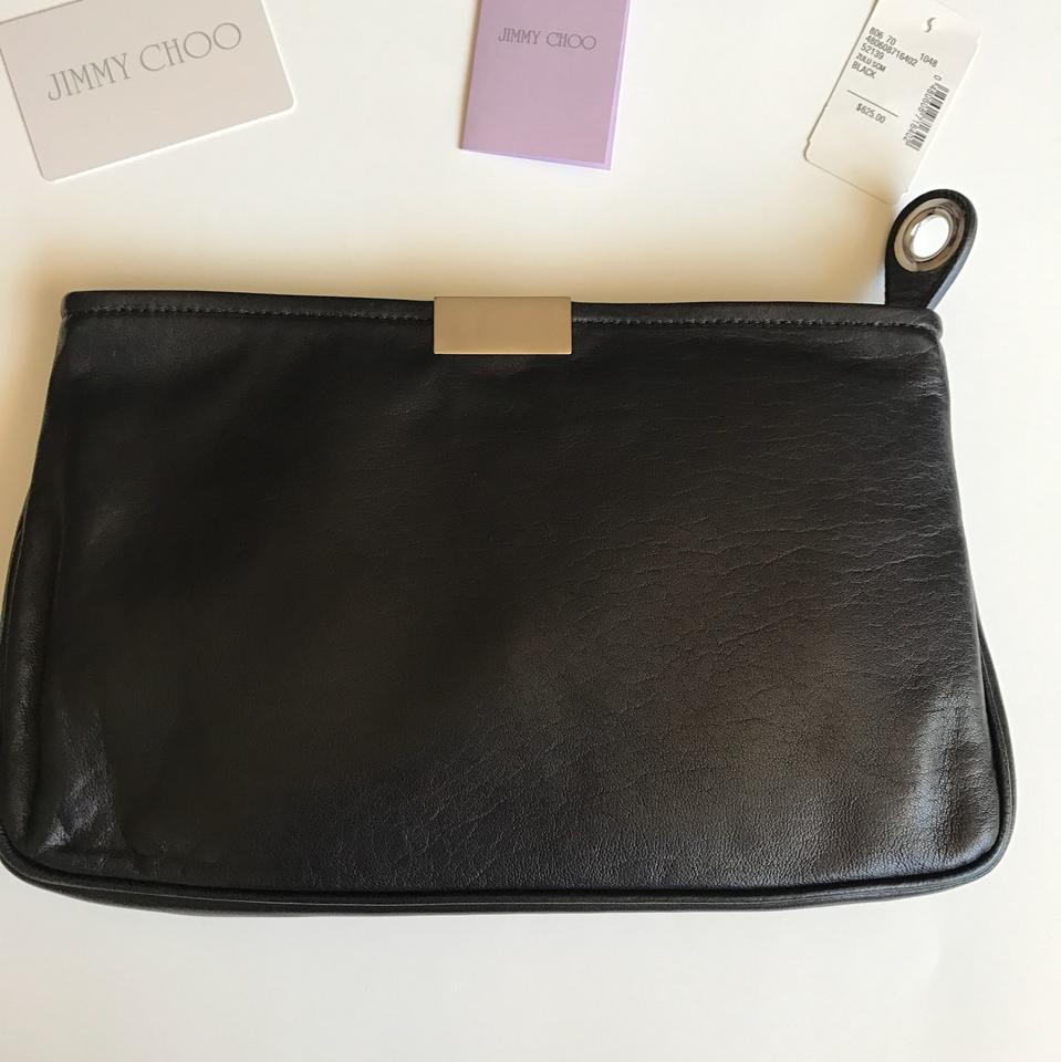 Leather Black Chic Clutch Choo Jimmy Stud TBIwZO8q