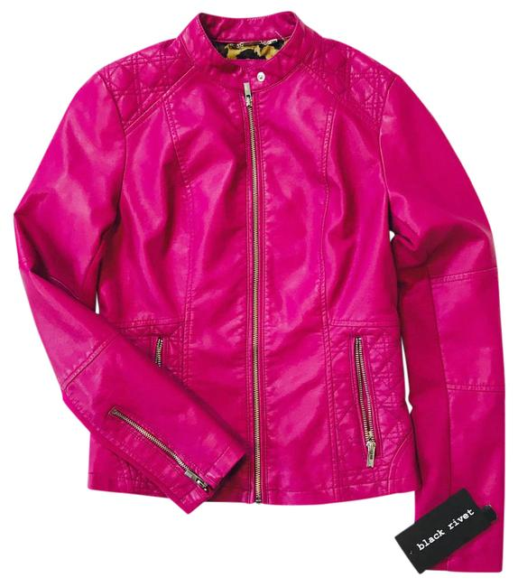Item - Fushia Berry Scuba W Womens Faux-leather W/Quilt Detail and Knit Inset Jacket Size 2 (XS)