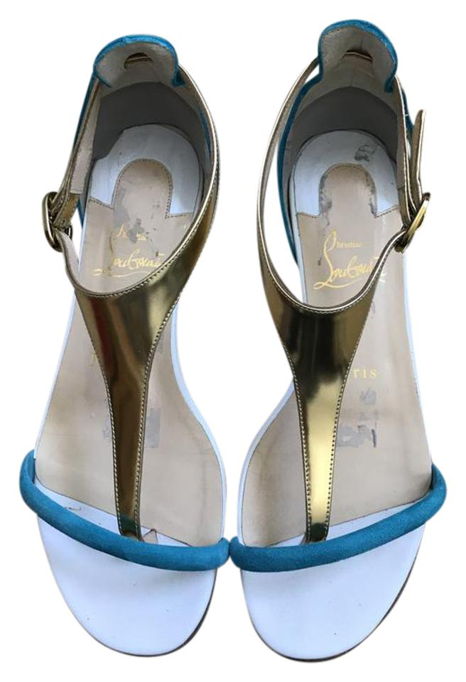 Christian Louboutin Suede/Specchio Teal Gold Athena Flat Suede/Specchio Louboutin Sandals 754d7c