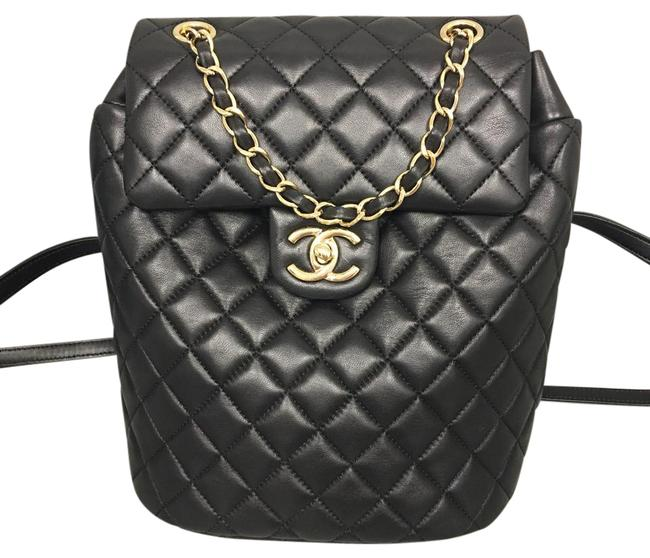 Item - Quilted Urban Spirit Small Size Ghw Black Lambskin Leather Backpack
