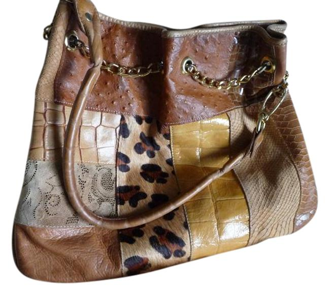 Item - Drawstring Multi-leather Embossed Shoulder Multi-colored; Camel Gold Black Brown Yellow Leathers Croc Suede Ostrich and Snake Hobo Bag