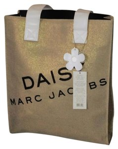Marc Jacobs Daisy Canvas Glitter Tote in Burlap with Gold Shimmer