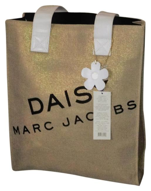 Marc Jacobs Daisy Burlap with Gold Shimmer Canvas Tote Marc Jacobs Daisy Burlap with Gold Shimmer Canvas Tote Image 1