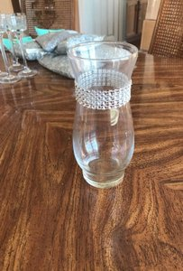 "Clear 21 Pieces - 6.5"" Vase with Silver Bling Band (Like Crystal) Votive/Candle"