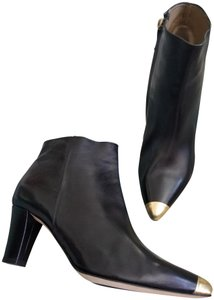 Anyi Lu Rare Calf Leather Ankle Black with gold tip toe Boots