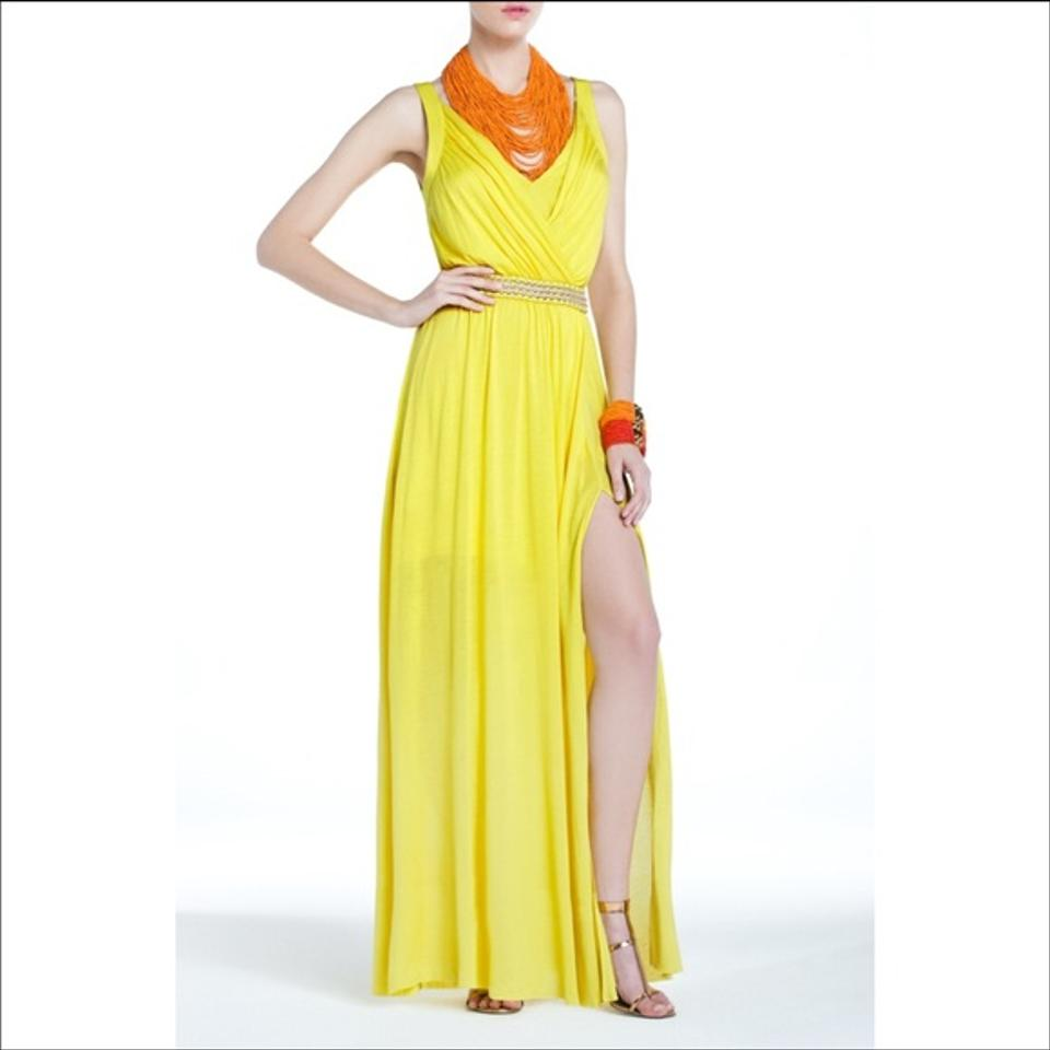 Bcbgmaxazria yellow pernilla sleeveless maxi in a for Yellow dresses for wedding guests