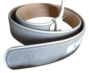 Dismero Dismero Gray Suede and White Patent Leather Belt