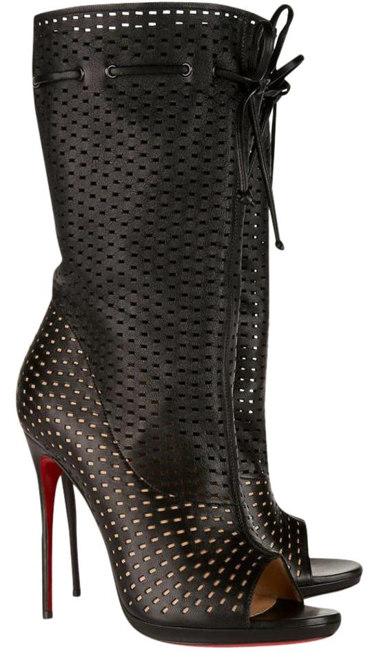 new products 2bcd9 bc354 Christian Louboutin Black Leather Jennifer Laser Cut Mid-calf Boots/Booties  Size EU 40 (Approx. US 10) Regular (M, B)