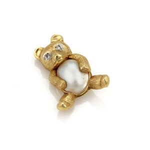 Modern Vintage Diamond Mabe Pearl Bear 14k Yellow Gold Brooch Pin