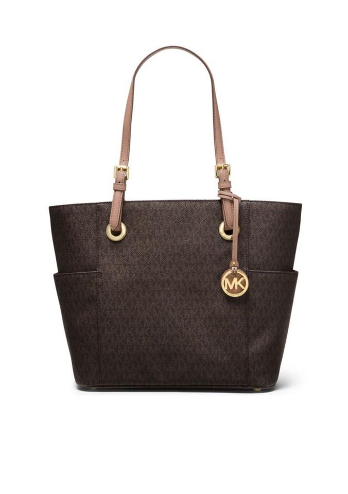 05422ec37f4b Michael Kors Signature Jet Set East West Large Brown Fawn Pvc Tote ...