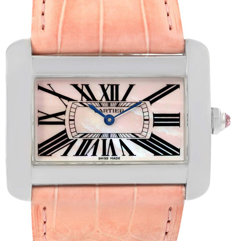 Cartier pearl tank divan xl limited edition mop dial steel for Cartier divan xl