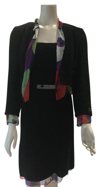 Item - Black Wool Boucle with Red Blue & Green Silk Accents Skirt Suit Size 6 (S)