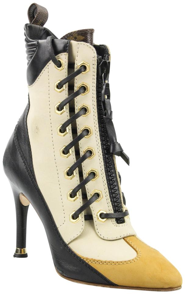 4ff8fa703d4 Louis Vuitton Nude Tan and Black Lace Up Ankle Boots/Booties Size EU 37  (Approx. US 7) Regular (M, B)