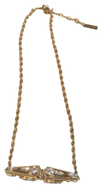 Item - Gold and Crystal Bar Pendant Necklace