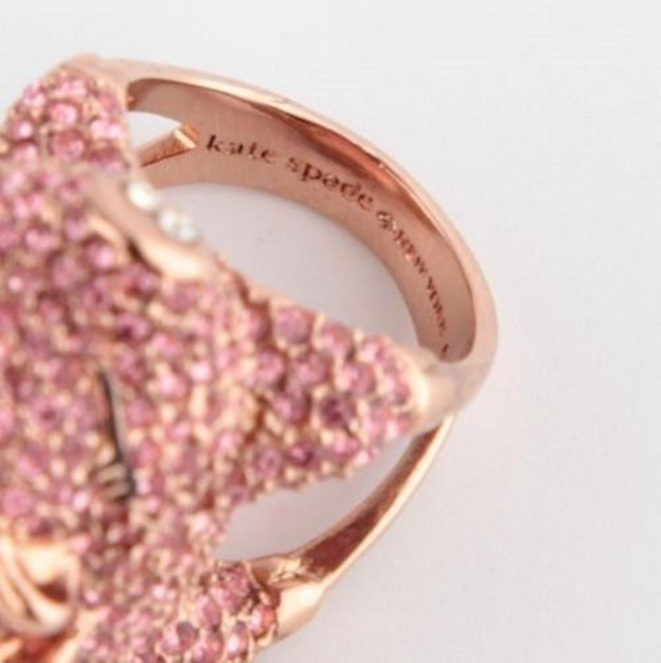 Kate Spade Rose Gold/Pink Plated Pave Flying Pig Crystal 7 Ring ...