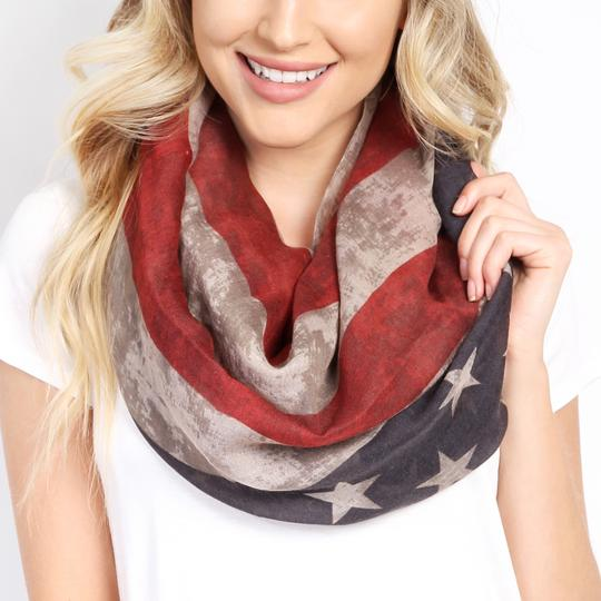Riah Fashion American Flag Light Weight Infinity Scarf Image 1