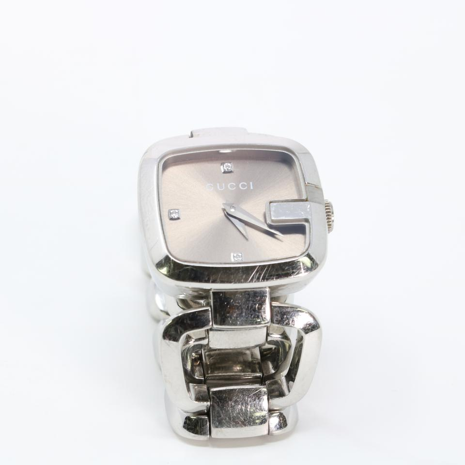 0588c251295 Gucci Gucci Signature Chrome Wristlet Watch G Monogram Crystal Swiss Analog  Image 10. 1234567891011